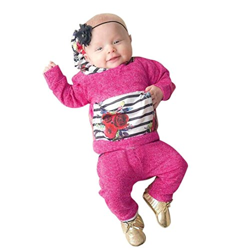 Dream_mimi Toddler Baby Girl Floral Striped Print Hooded Jacket Pullover Pants Suit (70, Hot Pink)