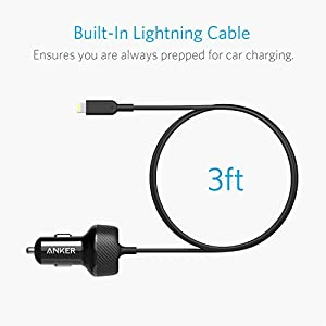 Anker Ultra-Compact 24W 2-Port Car Charger, PowerDrive 2 Elite with 3ft Lightning Connector for iPhone XS/Max/XR/X/8/7/Plus, iPad Air 2/Mini 4, PowerIQ for Galaxy S Series, Note, LG, Nexus, and More