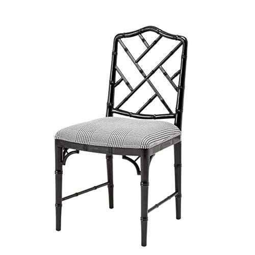 Dixon Upholstered Bamboo Frame Dining Chair | Eichholtz Infinity | Black Chinese Oriental Chippendale Chair | Luxury Kitchen & Dining Room Furniture