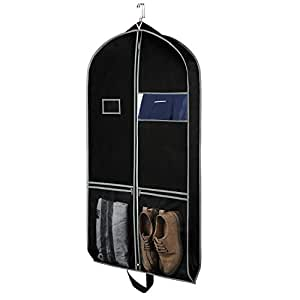 """Zilink Breathable Travel Garment Bags Suit Bags for Travel 43"""" Dress Suit Cover with 2 Large Mesh Pockets and a PVC Card Holder for Suit Dress Coat, Fabric, Black, 24"""" x 43"""" with Mesh Pockets"""