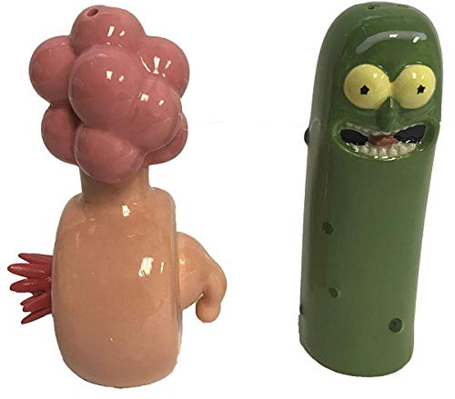 U.C.C. Distributing Rick and Morty Pickle Rick / Plumbus Salt and Pepper Shaker Figure Set]()