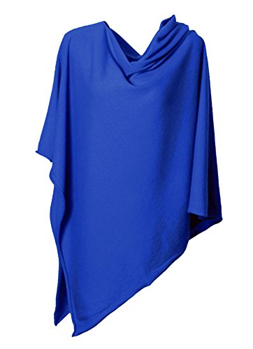 Anna Kristine Pure Cashmere Asymmetrical Draped Poncho – French Blue