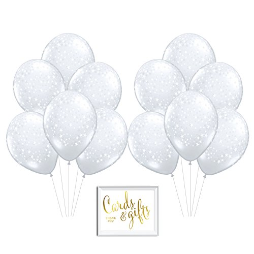 Andaz Press Bulk High Quality Latex Balloon Party Kit with Gold Cards & Gifts Sign, Twinkle Twinkle Little Star White and Clear Space Galaxy Printed 11-inch Balloons, Wholesale 50-Pack Wholesale Helium Balloons