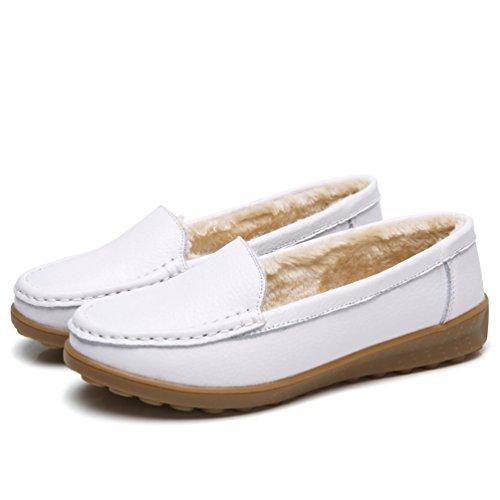 Comode Guida Pu Mocassini Moda Da Bianco Pelle Donna Loafers Addensare Scarpe 1 Yiiquan In RXqWw04PR