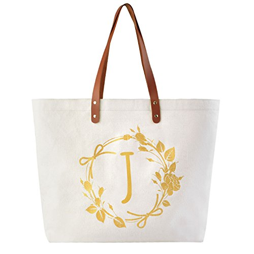 ElegantPark J Initial Personalized Gift Monogram Tote Bag with Interior Zip Pocket Canvas