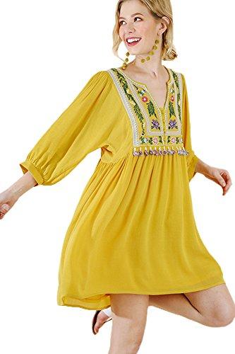 Bohemian Tunic Goldenrod Women's or Tassel Umgee Dress 6gq5w1FgE