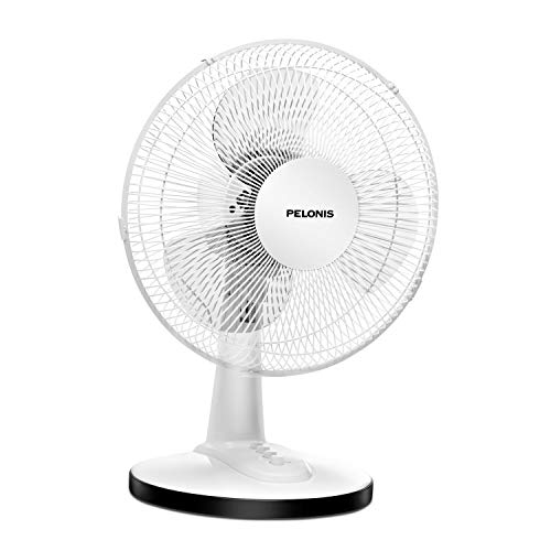 PELONIS FT30-15H Portable 3-Speed 12-Inch Oscillating Table Air Circulation Fan, White, 12 Inch