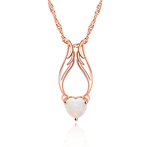 Fire Pendant Opal White - Lady's Pendant White Fire Opal Rose Gold Plated Heart Angel Wings Shaped Wedding Party Necklace Jewelry