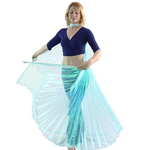 Danzcue Adult M/L Iridescent Neon Turquoise Belly Dance Worship Angel Wings With Sticks (Dance Worship Costumes)