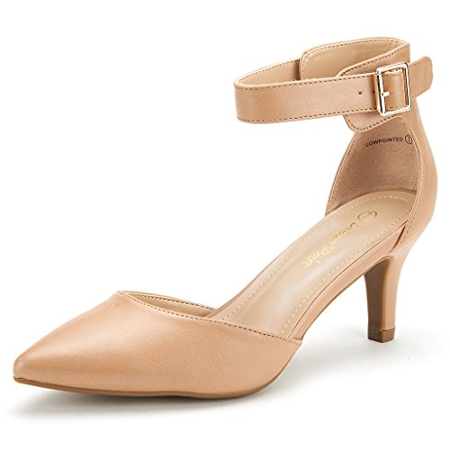 DREAM PAIRS Women's Lowpointed Taupe Pu Low Heel Dress Pump Shoes - 8.5 M US