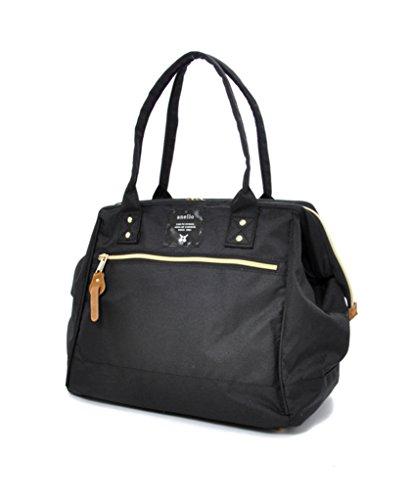 - Anello Polyester Canvas Waterproof Boston Shoulder Bag Handbag (Black)