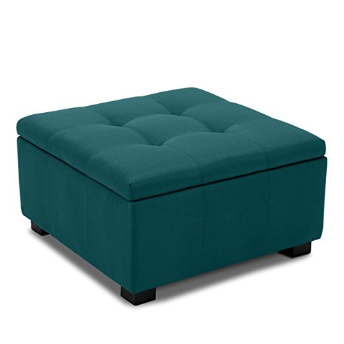 - Belleze Indoor Living Room Bedroom Tufted Squared Storage Ottoman Foot Bench Upholstered Modern Style, Blue