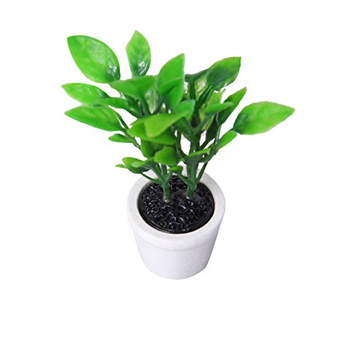 Green Plant in White Pot Dollhouse 1/12 Miniature Garden Accessory