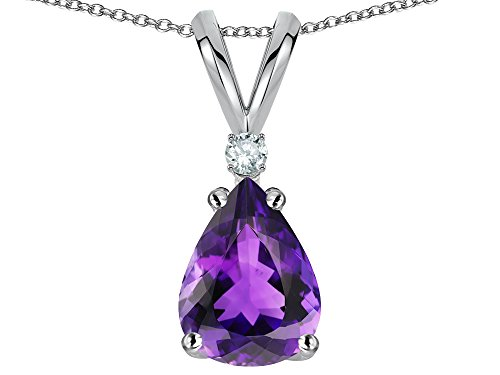 - Star K Pear Shape 8x6 mm Genuine Amethyst Rabbit Ear Pendant Necklace 14 kt White Gold