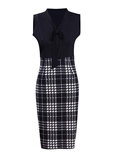 CISMARK Womens Chic Color Block V Neck Sleeveless Business Pencil Dress Black Plaid - Plaid Dress Sleeveless