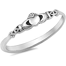 Claddagh Heart Celtic Beautiful Ring New .925 Sterling Silver Band Sizes 2-10