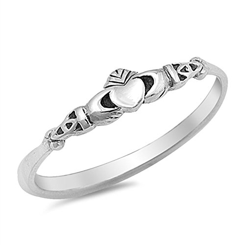 (Claddagh Heart Celtic Beautiful Ring New .925 Sterling Silver Band Size 6)