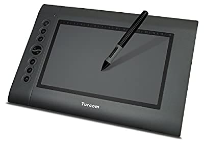 Turcom TS-6610 Graphic Tablet Drawing Tablets and Pen/Stylus for PC Mac Computer, 10 x 6.25 Inches Surface Area 2048 Levels of Pressure Sensitive Surface with 8 Hot Keys, 4000 LPI Resolution, Ideal for Kids and Artists from Turcom