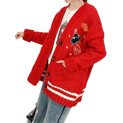 Donna A Maniche Ricamo Manica Con Yufaa Maglione Lunga Jumpers Lunghe Per Rosso 5q7fXfx