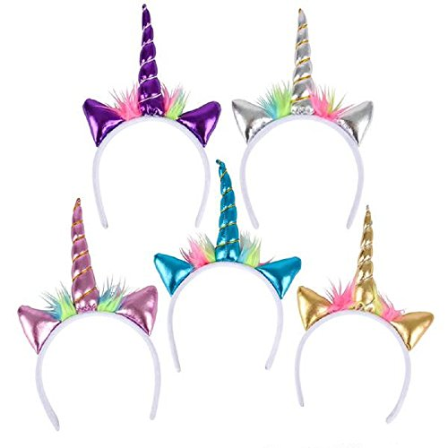 Shop Zoombie 12 Pack Unicorn Metallic Headbands and 2 Knotted Friendship Bracelets - Party Favors, Party Decorations, Prizes, Easter Baskets, Dress Up, Costumes