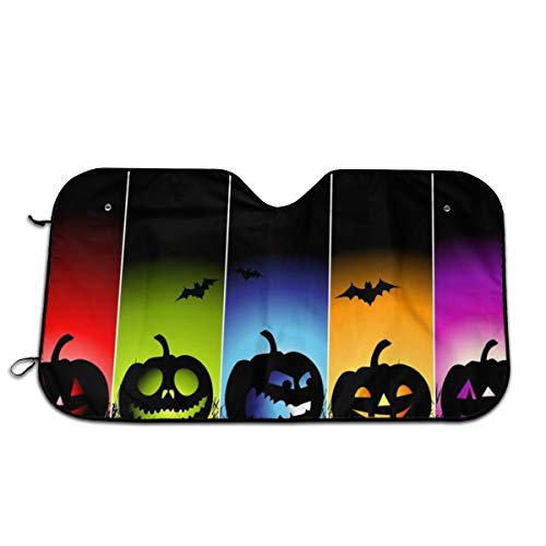 Cool Pumpkin Halloween Car Windshield Sun Shade Universal Fit Car Sunshade-Keep Your Vehicle Cool. UV Sun and Heat Reflector]()