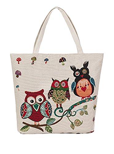 Damen Eule Canvas Handtasche Umhängetasche Shopper Tasche Mädchen Schultertasche Beuteltasche für Outdoor Camping Ausflug Urlaub b