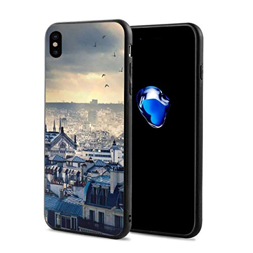 Phone Case Cover for iPhone X XS,Paris Cityscape from Montmartre Rooftops Flying Bird Pigeons Foggy Sunrise,Compatible with iPhone X/XS 5.8