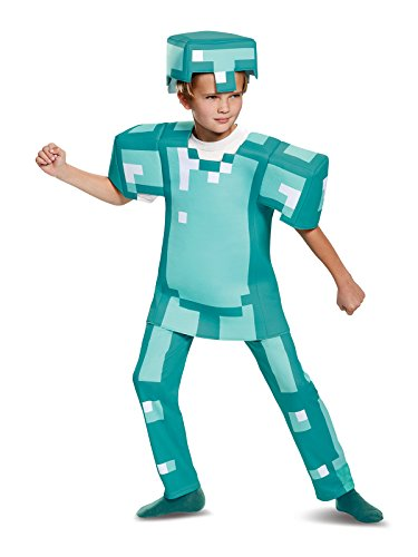 Minecraft Steve Halloween Costume (Armor Deluxe Minecraft Costume, Blue, Medium)