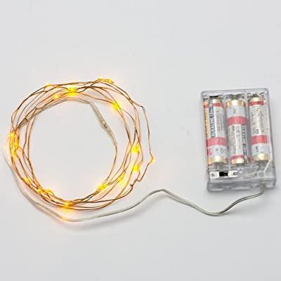 SUPERNIGHT (TM) 7ft/2m 20 LEDs Yellow Christmas Wedding Copper LED Strings AA Battery Powered Ultra Thin String Lights Wire Portable Christmas Trees Lighting Decorative LED Strings