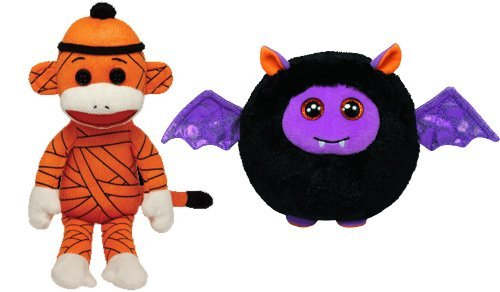 Ty Halloween Beanies Mummy Sock Monkey and Ballz Batty Plush Toys -