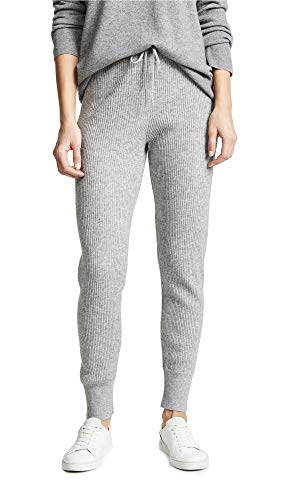 Vince Women's Ribbed Joggers, Heather Steel, Grey, Small