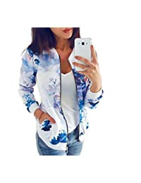 HEFASDM Womens Zipper Baseball Pocket Biker Floral Print Bomber Jacket Coat