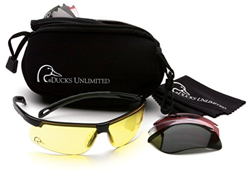 (Ducks Unlimited Shooting Glasses Kit with 4 Interchangeable Lenses-Neoprene Storage Case Included)