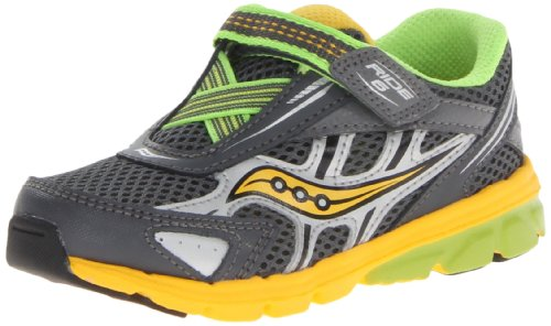 Saucony Boys Baby Ride 6 Running Shoe (Toddler/Little Kid),Grey/Yellow/Slime,4 XW US Toddler