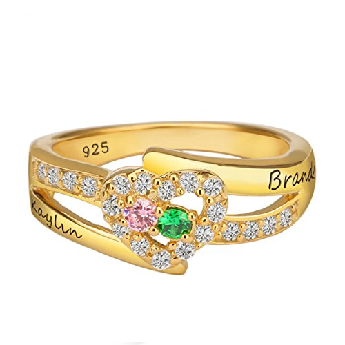 Quiges Gold Plated Silver Mother 2 CZ Birthstone Personalized Engraved Name Shank Open Cut Heart Custom Ring 5.5
