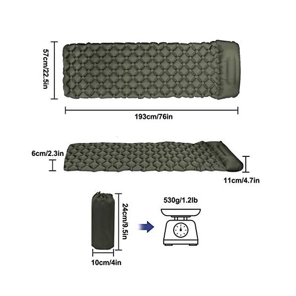 41iMAugheoL Karvipark Camping Isomatte, Ultraleichte Luftmatratze mit Kopfkissen, Faltbar Leicht Kleines Packmaß, Wasserdicht…