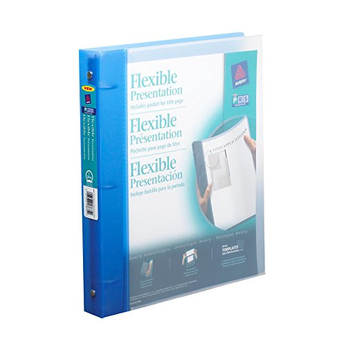 Avery Flexible Binder with 1-Inch Round Ring, Holds 8.5 x 11 Inches Paper, Blue (17675)