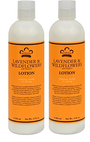 Nubian Lavender and Wildflowers Body Lotion (Pack of 2) With Vitamin E and Jojoba Seed Oil, 13 fl. oz. Each