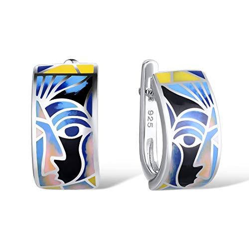 Santuzza 925 Sterling Silver Earrings Classical Blue Face Fashion Jewelry Handmade Enamel, White
