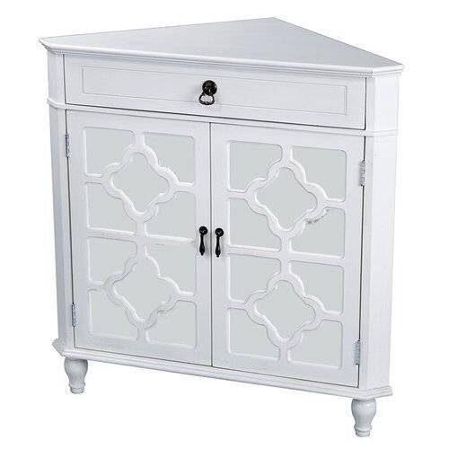 Heather Ann Creations The Frasera Collection Contemporary Style Wooden Double Door Floor Storage Living Room Corner Cabinet with 1-Drawer, White