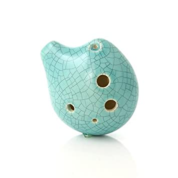 Amazon 6 hole seedpod pendant ocarina ceramic jade crackle 6 hole seedpod pendant ocarina ceramic jade crackle glaze alto c necklace aloadofball Image collections