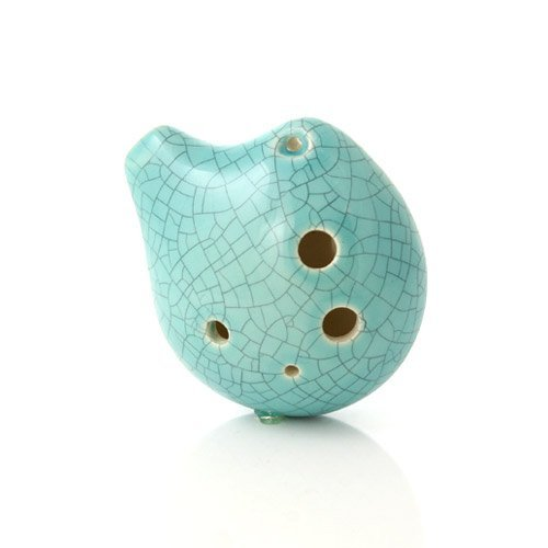 6 Hole Seedpod Pendant Ocarina - Ceramic - Jade Crackle Glaze - Alto C- Necklace Flute - Focalink - Perfect Travel Companion - Easy to Play - Free Tutorial & Songbook Included