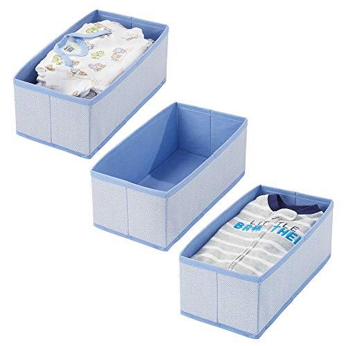 mDesign Soft Fabric Dresser Drawer and Closet Storage Organizer for Toddler/Kids Bedroom, Nursery, Playroom - Rectangular Bin with Herringbone Print - 3 Pack - Blue]()