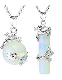 2pcs Dragon Wrapped Round Ball Cylinder Gemstone Necklace Crystal Healing Couple Pendant Necklaces Set