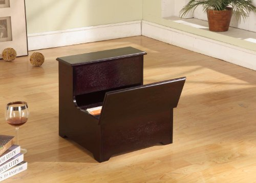 Kings Brand Cherry Finish Wood Bedroom Bed Storage Step Stool - Cherry Wood Finish Bed