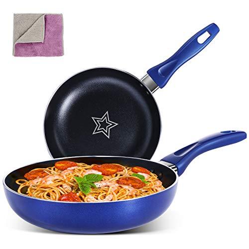 MASTERTOP Nonstick Frying Pan Set – 2 Piece 8 Inch Open Skillet 10.4 Inch Cooking Pan, PFOA-Free Non Sticking Pot…