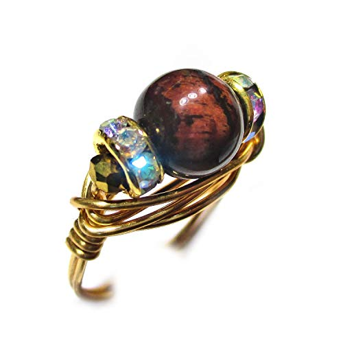 (Natural Red Tiger Eye Gemstone Solitaire Gold Wire Gold Plated Elements Wrap Ring Women Size 4-12)