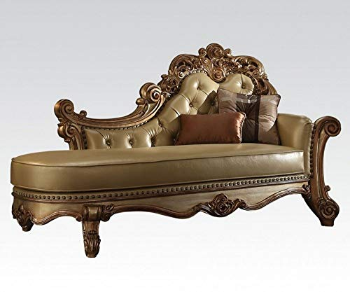 - ACME Vendome Gold Patina Chaise with 2 Pillows