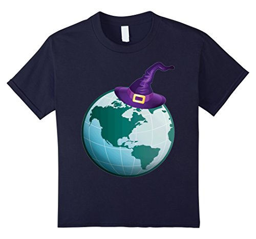 Environmentalist Halloween Costume (Kids Globe Witch Earth Costume 2017 Halloween T-shirt 10 Navy)