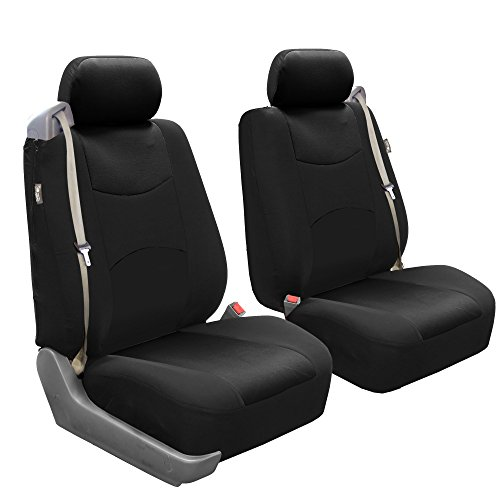 2 Front Seat Covers - FH Group FB351BLACK102 Black Flat Cloth Front Low Back Seat Cover, Set of 2 (Built-In Seatbelt Compatible)